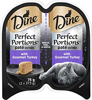 DINE Perfect Portions Wet Cat Food Paté Turkey 75g, Adult, 24 Pack, One Size