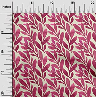 oneOone Viscose Jersey Beige Fabric Leaves Sewing Craft Projects Fabric Prints by Yard 60 Inch Wide
