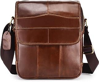 Bolso de hombre de piel auténtica, bolso de hombre, con asa, vintage, bolso bandolera de trabajo, con correa extraíble (ca...