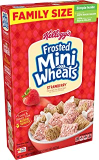 Kellogg's Frosted Mini-Wheats, Breakfast Cereal, Strawberry, Excellent Source of Fiber, Family Pack, 22oz Box(Pack of 16)