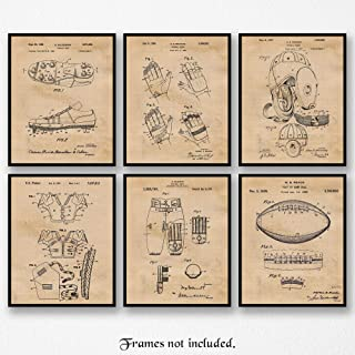 Original Football Patent Poster Prints, Set of 6 (8x10) Unframed Photos, Great Vintage Wall Art Decor Gifts Under 20 for Home, Office, Man Cave, Gym, College Student, Teacher, Coach, NFL Pigskin Fan