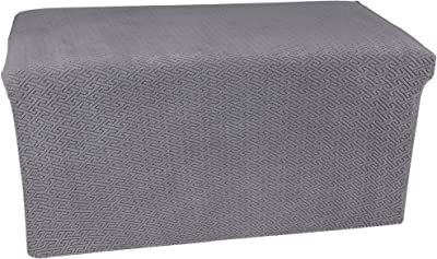 UFOTEX Ottoman Cover Stretch Folding Storage Stool Slipcover Furniture Protector Soft with Elastic Bottom L Grey