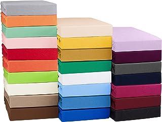 SHC Textilien Sábana Bajera Ajustable Jersey para colchones con o sin muelles, Funda de colchón - 4 tamaños y 25 Colores - Algodón 100% - ca. 130g/m² 180x200-200x200 cm Rojo Real/Azul Real