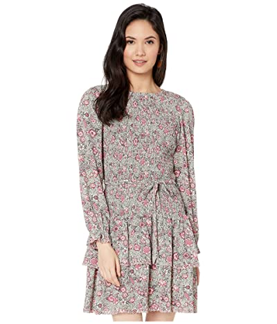 La Vie Rebecca Taylor Long Sleeve Camila Floral Dress (Soft Mint Combo) Women
