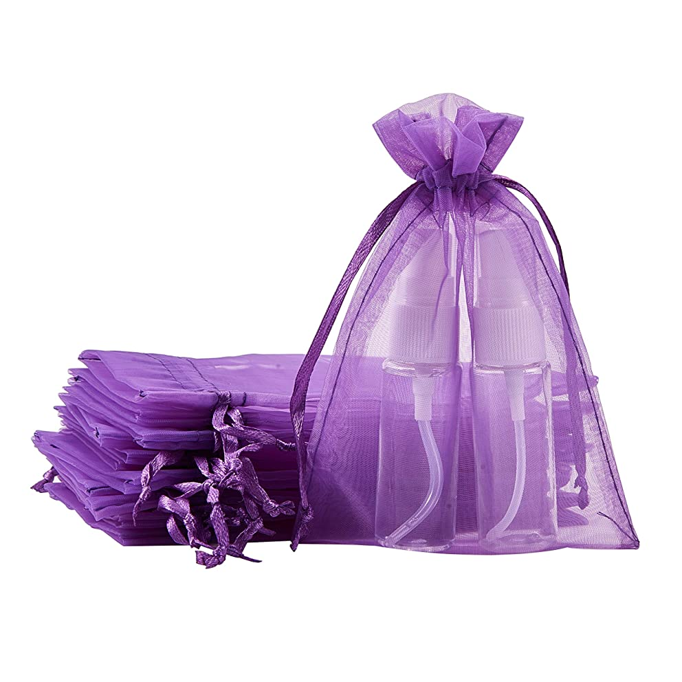 BENECREAT 100pcs 4 x 6 Inches Wide Satin Drawstring Organza Gift Bags Jewelry Pouches Wedding Festival Favor Bags for Cosmetics, Perfume, Chocolate(Purple, H Shape)