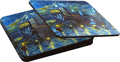 Westlake Art - Starry Night Castle Night Boats - 4pack Coaster - Abstract Artwork Home Kitchen Decor Tabletop Accessories - 3.75x3.75 Inch - rounded-square