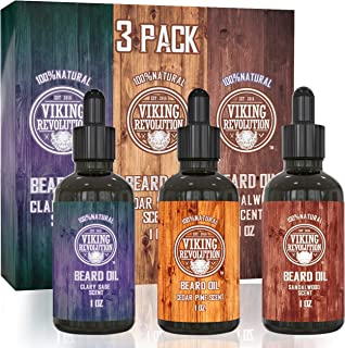 Beard Oil Conditioner 3 Pack - All Natural Variety Gift Set - Sandalwood, Pine & Cedar, Clary Sage Conditioning and Moisturizing for a Healthy Beards, Great Gift Item by Viking Revolution