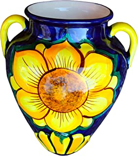 Cactus Canyon Ceramics Spanish Hand-Painted Wall Tinaja Flower Pot, Sunflower