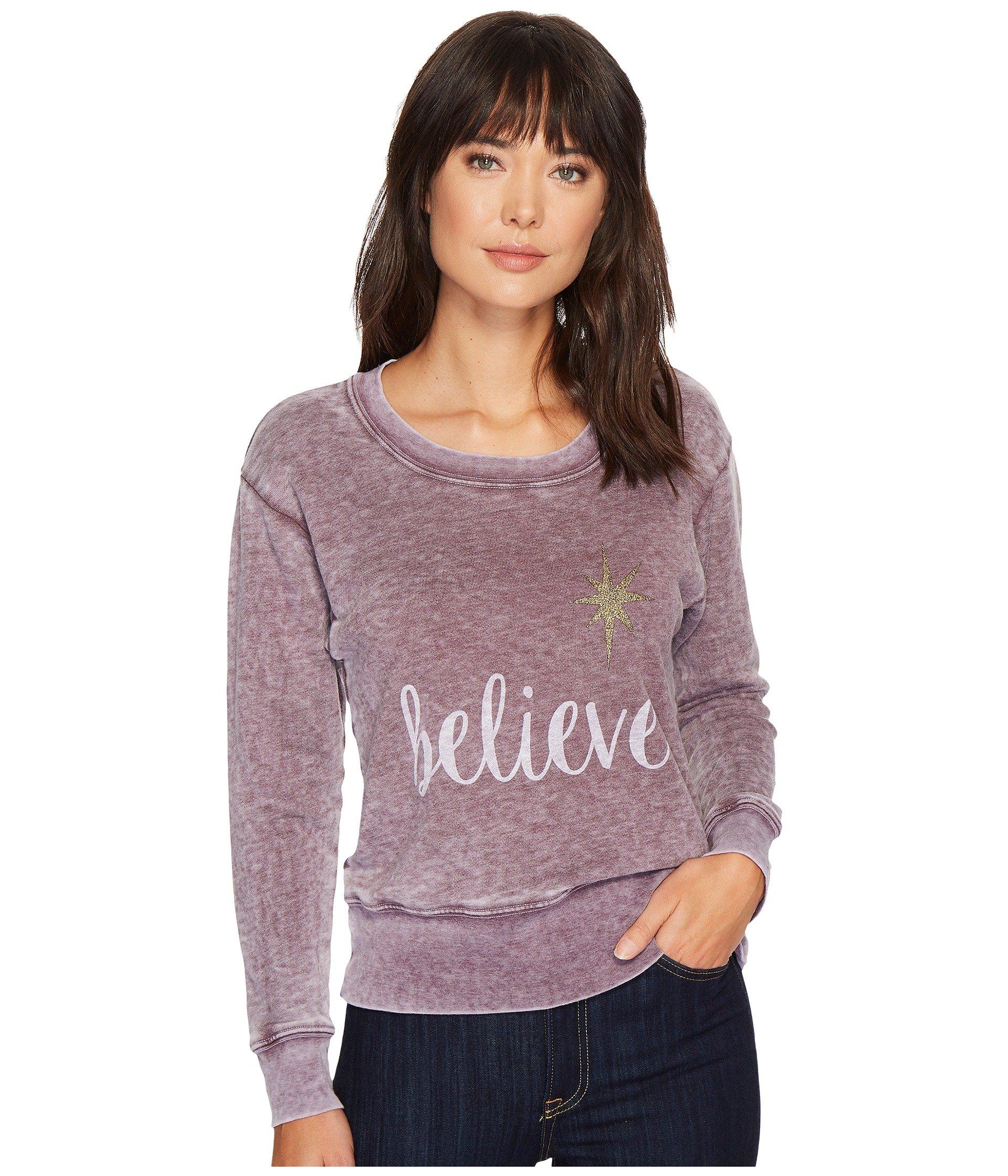 ALLEN ALLEN Believe Sweatshirt, Plum Raisin