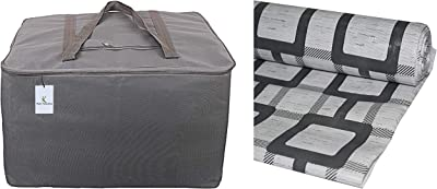 Kuber Industries Rexine Jumbo Underbed Moisture Proof Storage Bag With Zipper Closure And Handle (Grey) -CTKTC6596 & Checkered PVC Wardrobe Kitchen Drawer Shelf Mat - Grey, 10M Roll (CTKTC05447) Combo