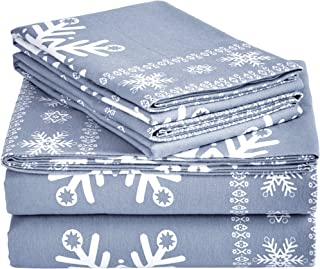 Amazon Brand – Pinzon Cotton Flannel Bed Sheet Set - King, Snowflake Dusty Blue