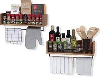 Rustic State William Floating Shelves Kitchen Wall Mount Spice Storage Rack with Towel Rail Set of 2 Walnut Stained