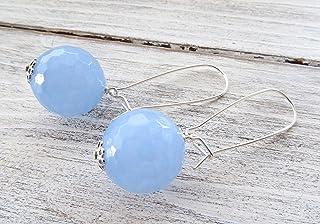 Orecchini con sfere di giada azzurra, pendenti lunghi in argento 925, gioielli contemporanei, bijoux creati a mano, access...