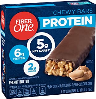 Fiber One Protein Bar, Peanut Butter Chewy Bars, 6g Protein, Snacks, 5 ct.
