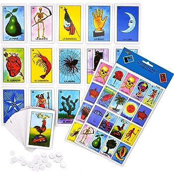 Loteria Mexican Bingo Lottery Game Set - 10 Players, Deck of 54 Cards (Juego de Loteria Mexicana para 10 Jugadores, Baraja de 54 Cartas)