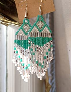 Turquoise & Silver Native American Inspired Beaded Earrings