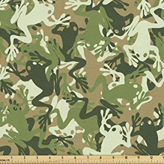 Ambesonne Animal Fabric by The Yard, Skull Camouflage Design Various Frog Pattern Different Tones Art Print, Decorative Fa...