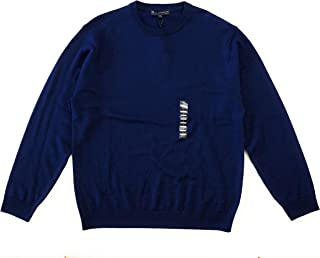 Men's Extra Fine Merino Wool Sweater, Navy, Size L