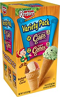 Keebler Ice Cream Cone Variety Pack, Sugar Cones and Ice Cream Cups, 7.6 oz (26 Count)