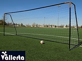 Vallerta Premier Regulation Size Soccer Goals w/Weatherproof 4mm Net. 50MM Diameter Black Powder Coated/Corrosion Resistant Frame. Proffessional Practice Aid. ONE Year Warranty!