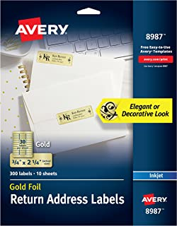 Avery Gold Address Labels for Inkjet Printers, 3/4