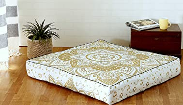 Popular Handicrafts Indian Hippie Mandala Floor Pillow Cover Square Ottoman Pouf Cover Daybed Oversized Cotton Cushion Cover with Heavy Duty Zipper Seating Ottoman Pouf Dog-Pets Bed 35