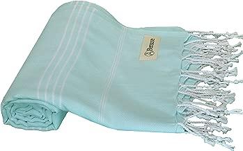 Bersuse 100% Cotton - Anatolia Turkish Towel - Bath Beach Fouta Peshtemal - Classic Striped Pestemal - 37X70 Inches, Aqua Marine