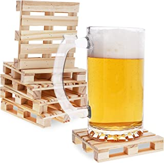 Juvale 6-Pack Mini Wooden Pallet Beverage Coasters for Hot and Cold Drinks