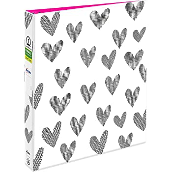 "Avery + Amy Tangerine Designer Collection Binder, 1"" Round Rings, 175-Sheet Capacity, Hatchmark Hearts (28320)"