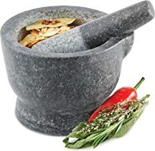 Andrew James Mortar and Pestle Granite | 15cm (6 Inch) Diameter Bowl with Easy Pour Lip | Traditional Indian Thai Style Stone Set Herb and Spice Grinder
