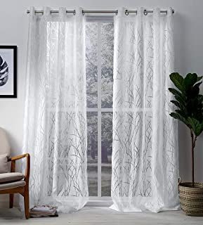 Exclusive Home Curtains Edinburgh Sheer Branch Burnout Window Curtain Panel Pair with Grommet Top, 52x108, Winter White, 2...