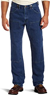 Key Industries Men's Relaxed fit Enzyme Washed Indigo Denim Logger Dungaree