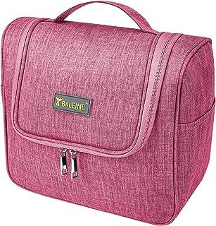 حقيبة بايلين لمستحضرات التجميل للنساء والرجال، مقاومة للماء لأدوات التجميل مع خطاف تعليق، حقيبة مكياج للسفر (وردي)