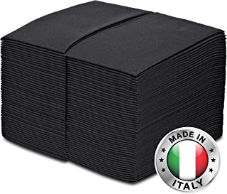 GREENOLIVE Paper Dinner Napkins Black 100 Pack - Thick Linen Feel - Disposable Hand Towels or Guest Towels for Wedding, Party, Kitchen, or Bathroom (Black)