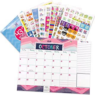 Reminder Binder 2019-2020 Monthly Desk Calendar + Event Stickers Variety Set (Total of 432 Stickers) with Tear-Off Lists, Scheduling Tools, Bill Pay Worksheet and More (Bundle of 2 Items)