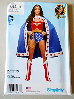 Wonder Woman Simplicity 0224 Sewing Pattern Size 14-22 Misses Costumes Bustier Crown Panties Boost Covers