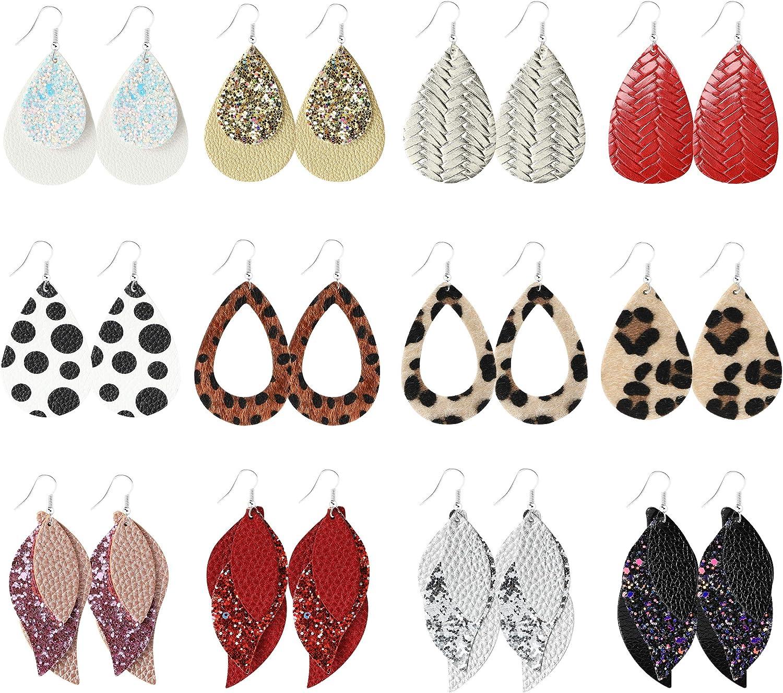 PANTIDE 12 Pairs Faux Leather Earrings for Women Girls, Lightweight Teardrop Dangle Leaf Leopard Print Sparkly Glitter Sequin Plaid Stripe Earrings Set Jewelry Accessory Gifts