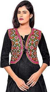 Banjara India Women's Poly Cotton Embroidered Kutchi Short Jacket/Koti