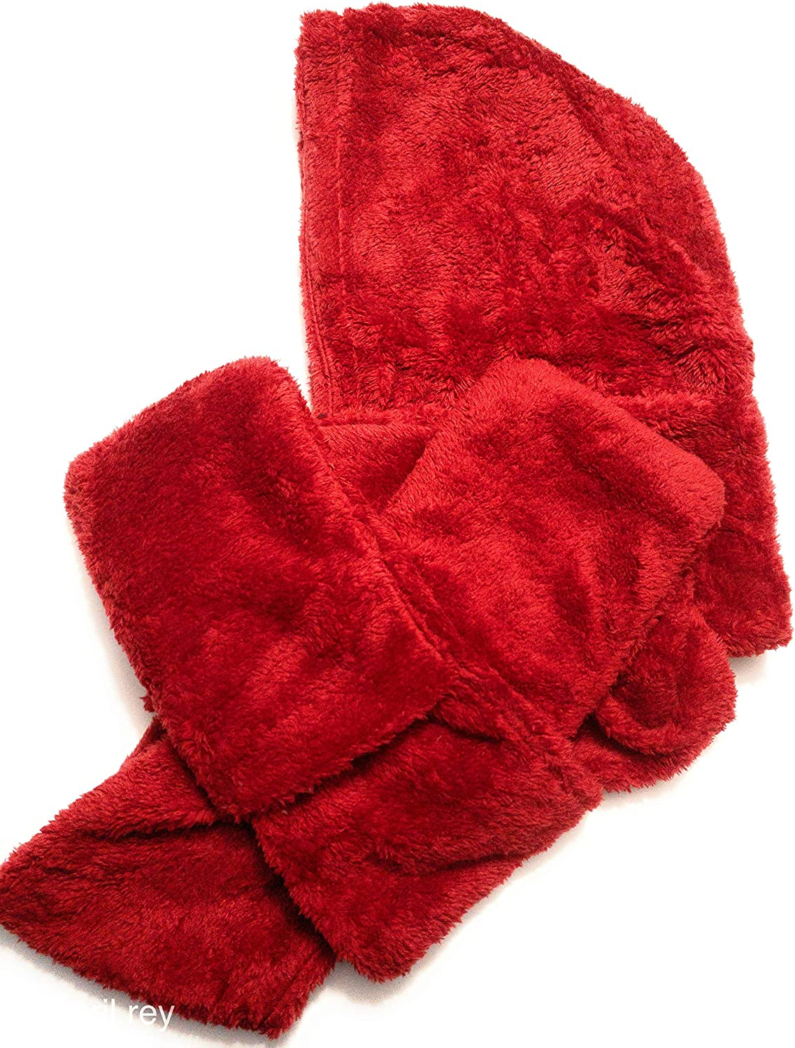 Gadgeteir Winter warm soft thick shawls scarf hoodie with gloves like pockets sets to warm your hands or a place to put your phone or keys, also comes with color- RED, Medium