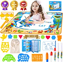 Water Doodle Drawing Mat with Carry Bag and Aqua Magic Coloring Book for Girls and Boys - Fun | Easy to Use | Educational - with Water 5 Pens in 4 Styles | Stencils - 39 x 28 Inches for Kids Age 3+