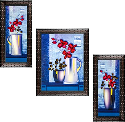 Indianara Set of 3 Red Flowers in the Pot Framed Art Painting (909GB) without glass 6 X 13, 10.2 X 13, 6 X 13 INCH