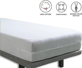 Tural – Funda de colchón elástica con Cremallera. Rizo 100% Algodón. Talla 90x190/200cm