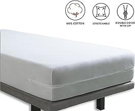 Tural – Funda de colchón elástica con Cremallera. Rizo 100% Algodón. Talla 150x190/200cm
