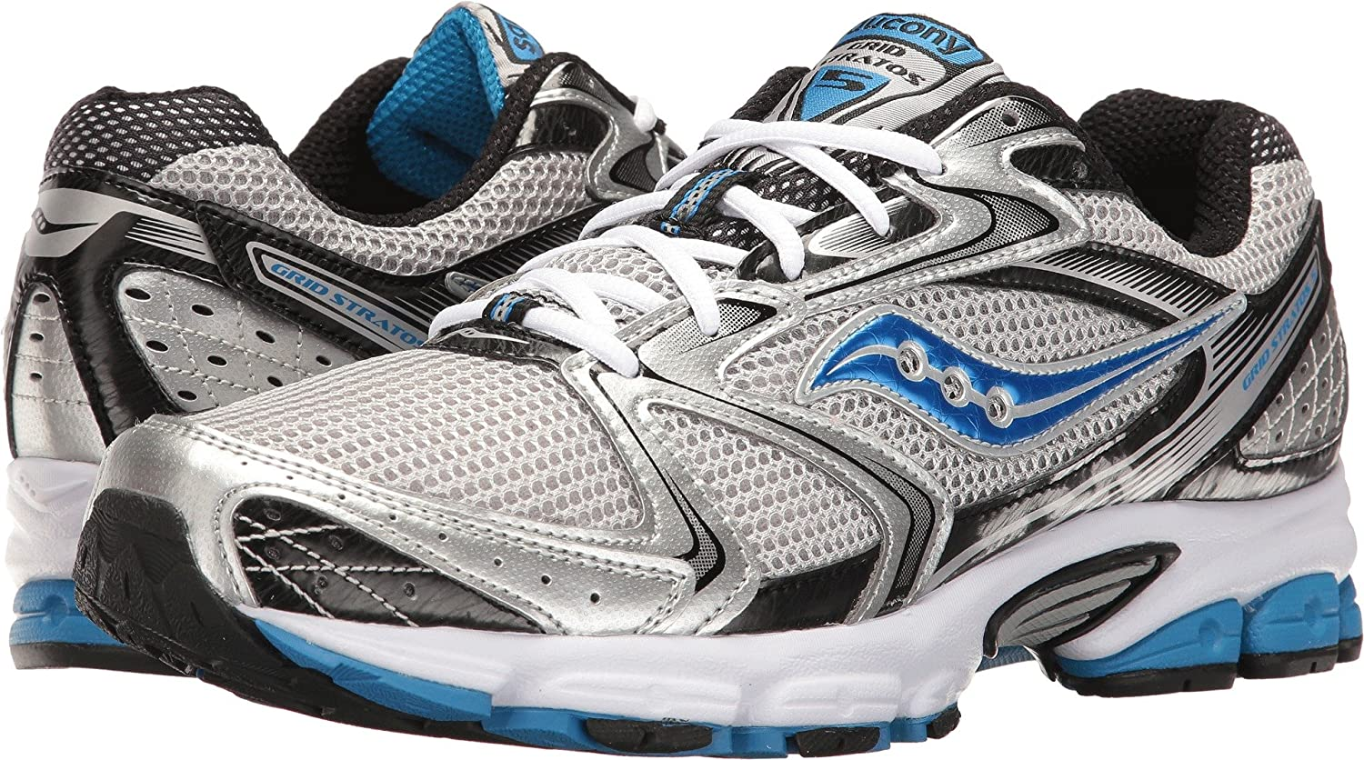 Saucony Men's Grid Stratos 5 Silver Black Royal Athletic shoes