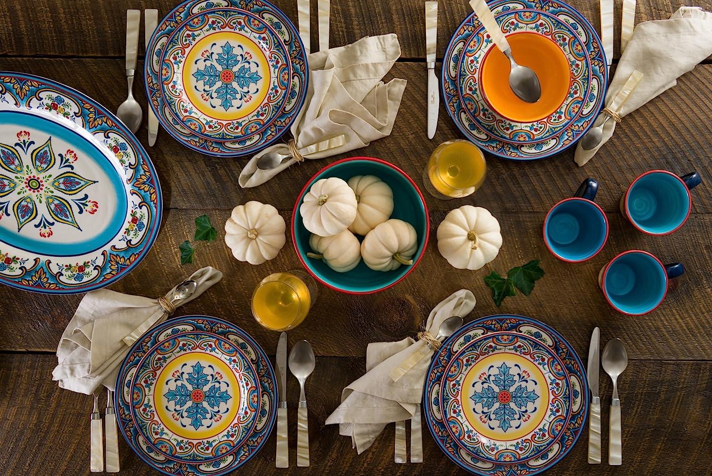 Multicolor Euro Ceramica Zanzibar 16 Piece Dinnerware Set