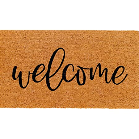 Theodore Magnus Natural Coir Doormat with Non-Slip Backing - 17 x 30 - Outdoor / Indoor - Natural - Welcome - COIR-1730-15-122