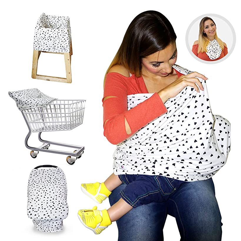 Nursing Breastfeeding Cover/Scarf + Baby Car Seat Cover/Canopy + Shopping Cart/Stroller Cover + High Chair Cover for Infant Girls and Boys. Best 4 in 1 Multi Use Stretchy Covers (Hearts)