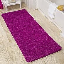 Lavish Home 2 Piece Memory Foam Shag Bath Mat Set - Burgundy Pink