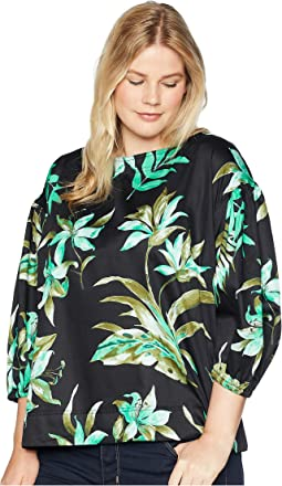 Plus Size Print Bishop-Sleeve Top