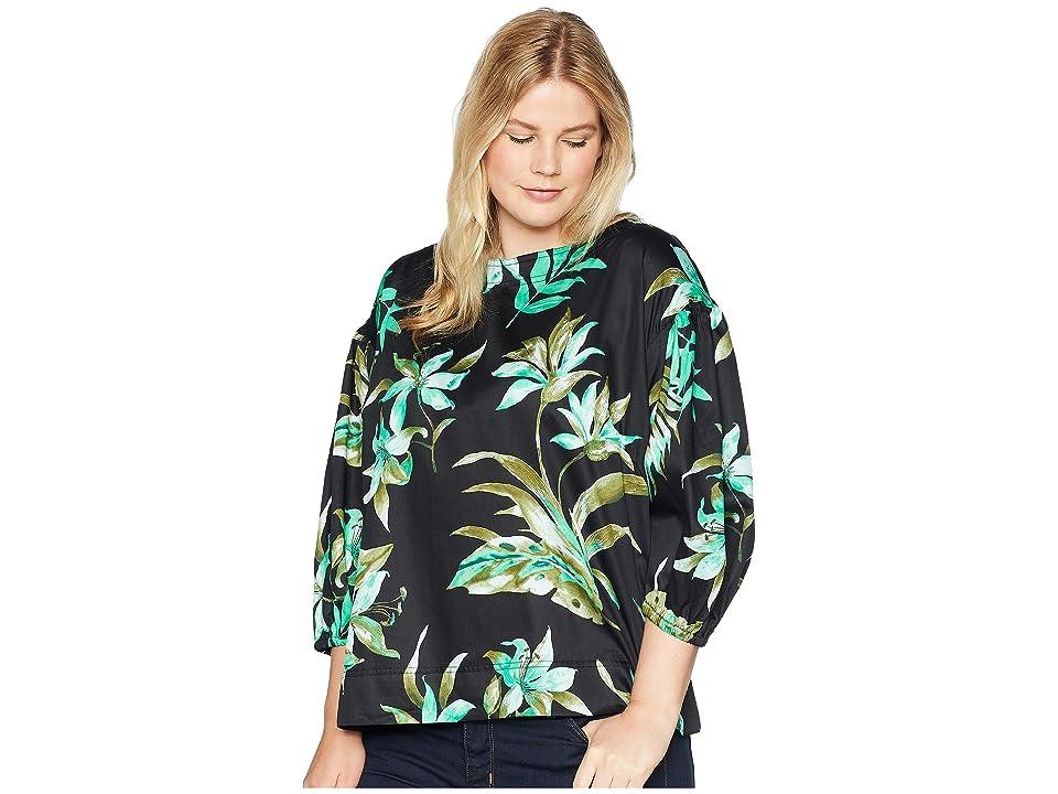 LAUREN Ralph Lauren Plus Size Print Bishop-Sleeve Top (Black Multi) Women